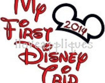 INSTANT DOWNOAD Cute Mickey Mouse First Disney Trip 2014 Celebration Applique Embroidery Design 3 Digital files