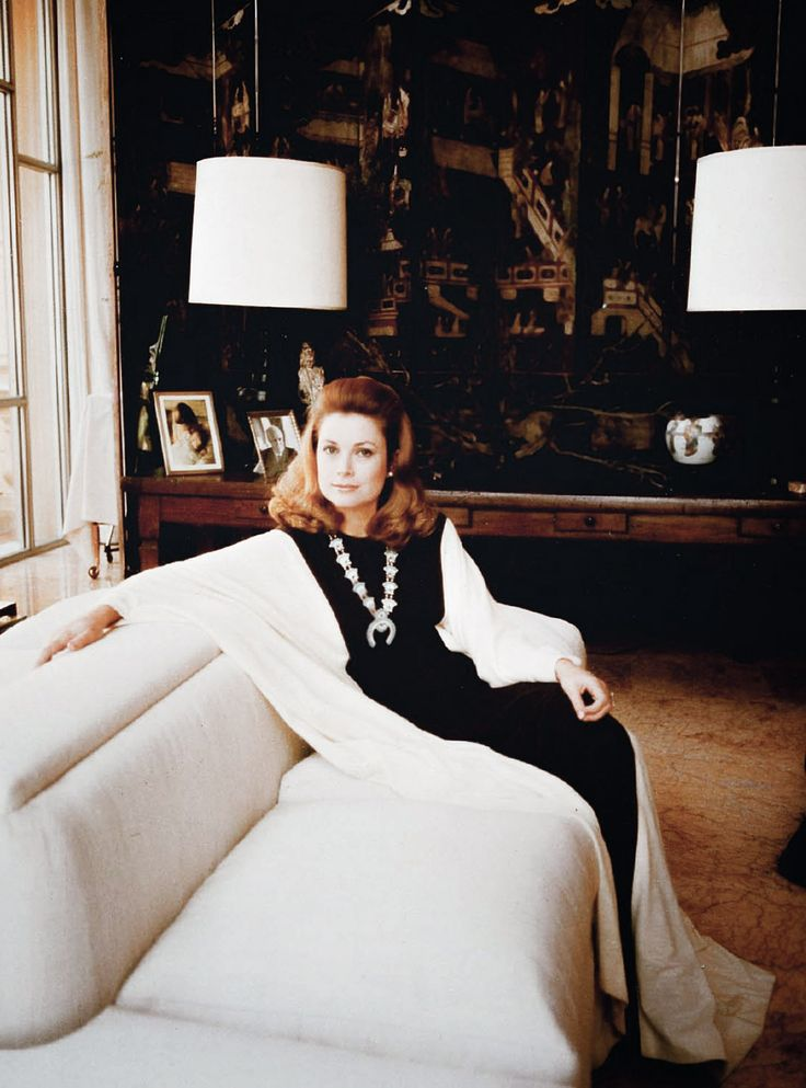 Princess Grace lounges in the family room at the Prince's Palace of Monaco.