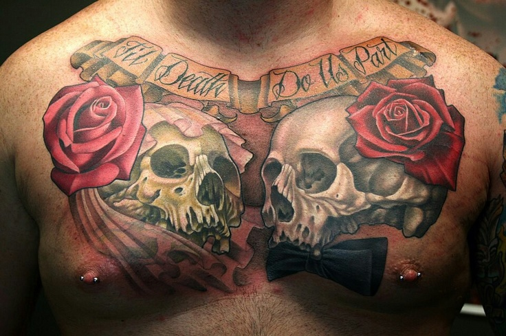 Skull chest tattoo bad ass tattoos pinterest in love for Skull love tattoos