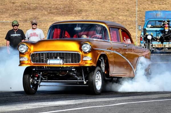 1955 Chevy Highboy Gasser melting the back tires.