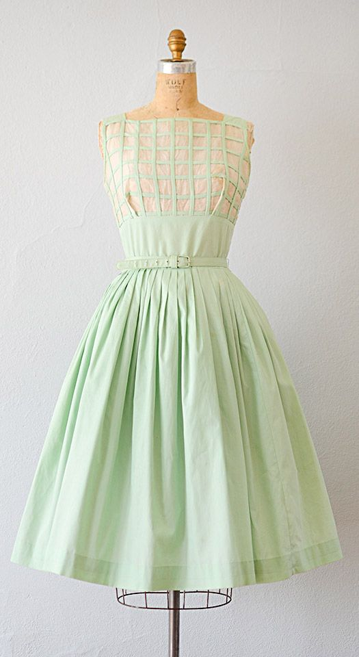 vintage 1950s dress   50s dress   vintage 1950s mint green organza grid pleat dress