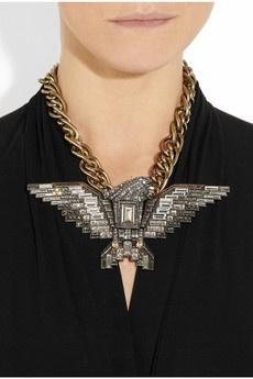 LANVIN  Swarovski crystal eagle necklace