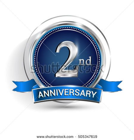 Celebrating 2nd anniversary logo, with silver ring and ribbon isolated on white background.