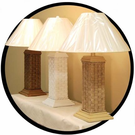 Basket Weave Wicker Table Lamp
