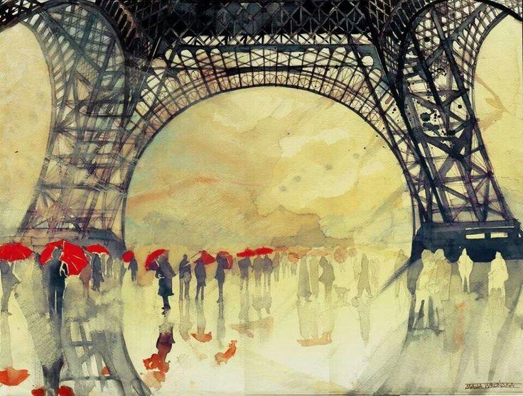 #watercolor #art #paris #rain #umbrella #eifel #eifeltower