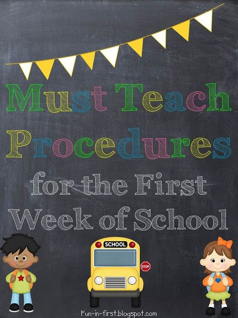 This website has a helpful list of must-have procedures to go over with students on the first few days of school.  The list is thorough and it's important to teach these procedures for an efficient classroom.