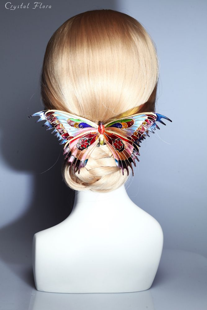 Fabulous Stained Glass Butterfly Unusual jewelery for hair Butterfly in the style of Tiffany (Crystal Flora, hair accessory, kanzashi, of synthetic resin and wire, American flowers, it is not kanzashi by Sakae, luxury jewelry, wedding decorations, wedding flowers, transparent flowers)