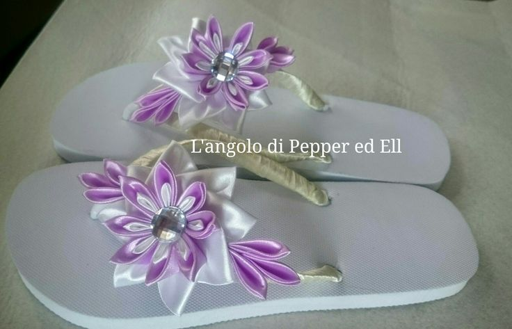 Infradito flip flop personalizzate kanzashi flowers