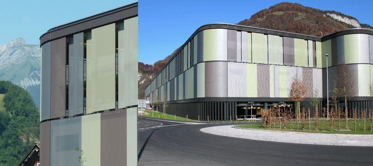 MIGROS car park - Stans, Switzerland | Bioclimatc facade made with Serge Ferrari Stamisol composite membrane Outstanding environmental integration |  Stamisol openwork membrane comes in more than 50 colors.
