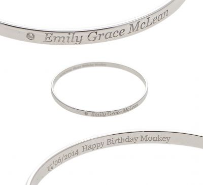 Laser Engraved Bangle - FOREVER BABY - Diamond Set - Sterling Silver or 9ct Gold