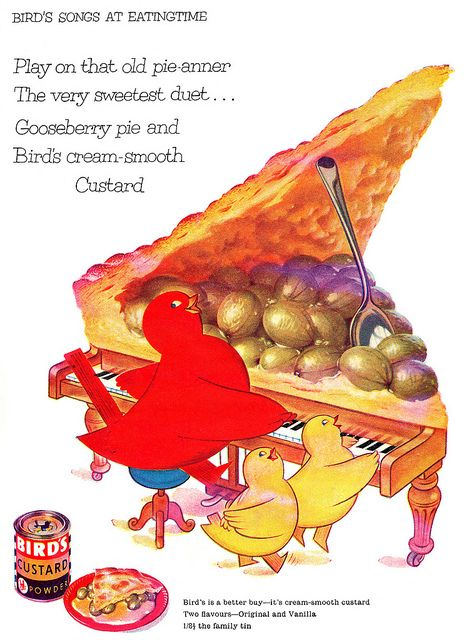 """Bird's Custard Powder (for pies) """"play on that ol' pie-anner""""  CHARMING old ad  1957"""