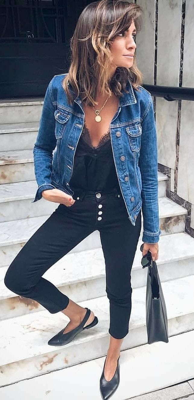 blue denim jacket #summer #outfits dancing everyday outfits shirts tops pants je