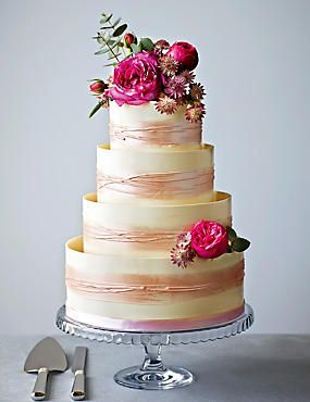Shimmering Hoop Chocolate Wedding Cake (White & Pink) by Marks & Spencer