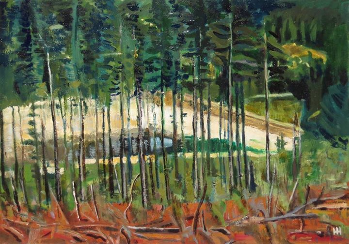 'A View Through the Trees' | Signed with the Artist's Monogram  | Oil on Canvas| 45 x 61cm