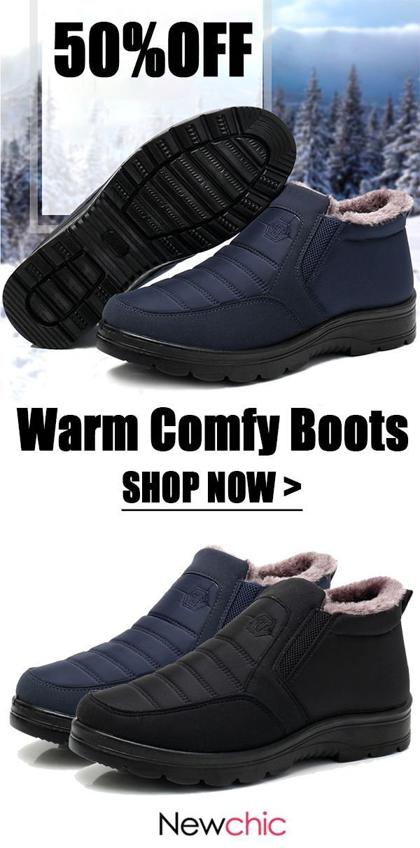 cad2f0e34 [50%off]Men Waterproof Fabric Plush Lining Slip On Casual Snow Boots. #mens  #warm #winter #boots #waterproof