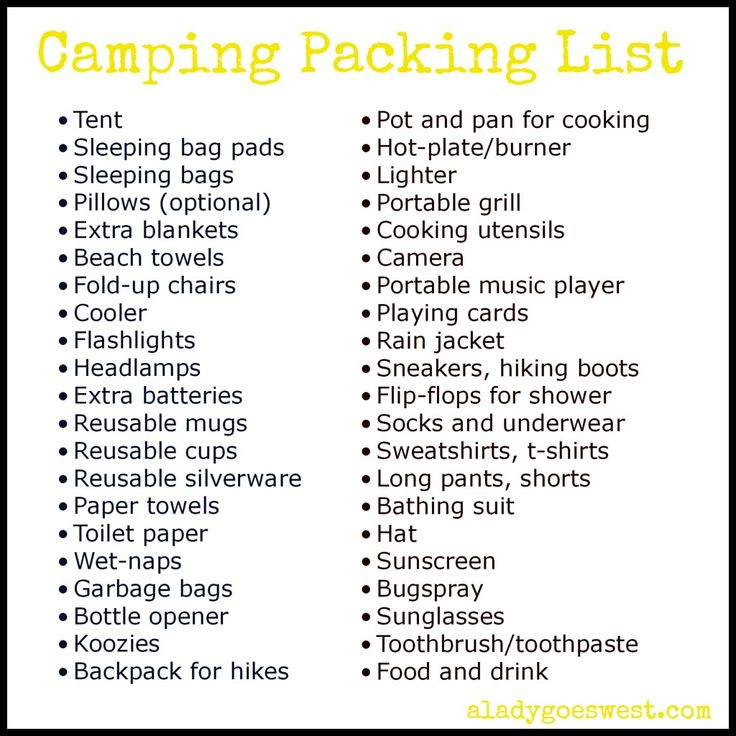 Camping Packing List via A Lady Goes West. What to bring #camping. http://wp.me/p4qPvH-Ly