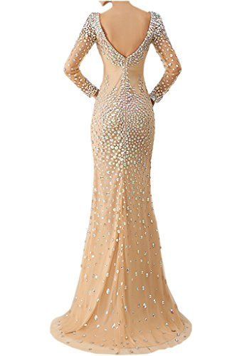 Vienna Bride Gorgeous Rhinestones Long Sleeves Evening Dress for Women Formal