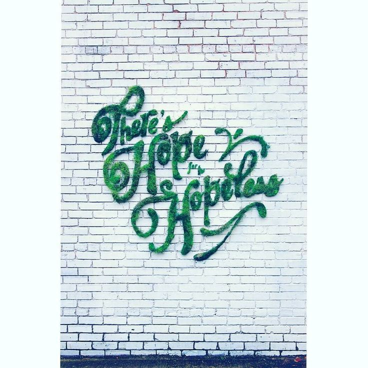 """""""There's hope for the hopeless."""" #moss #mossgraffiti #muschio #graffiti #ecology #sustainability #nature #natural #art #green #communicate #communication #wall #quote #quotestagram #hope #hopeless #relax Re-post by Hold With Hope"""