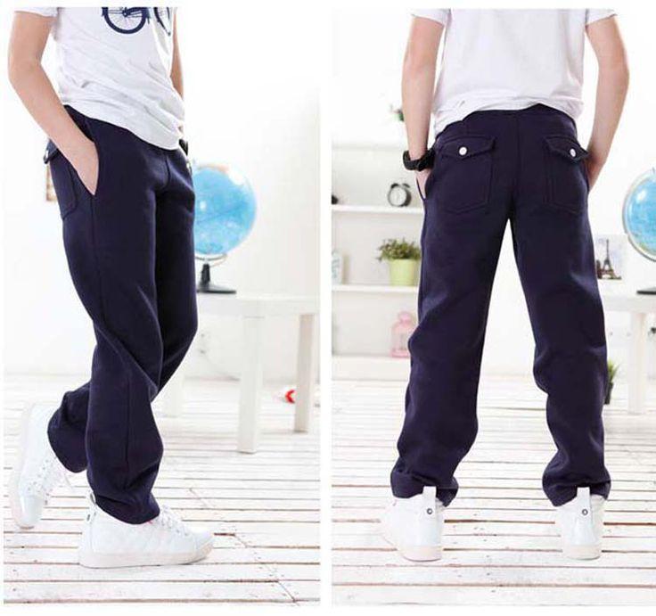 Бесплатная доставка продажи весна осень дети мальчиков спорт свободного покроя толстые штаны удобные хлопковые брюки два цвета