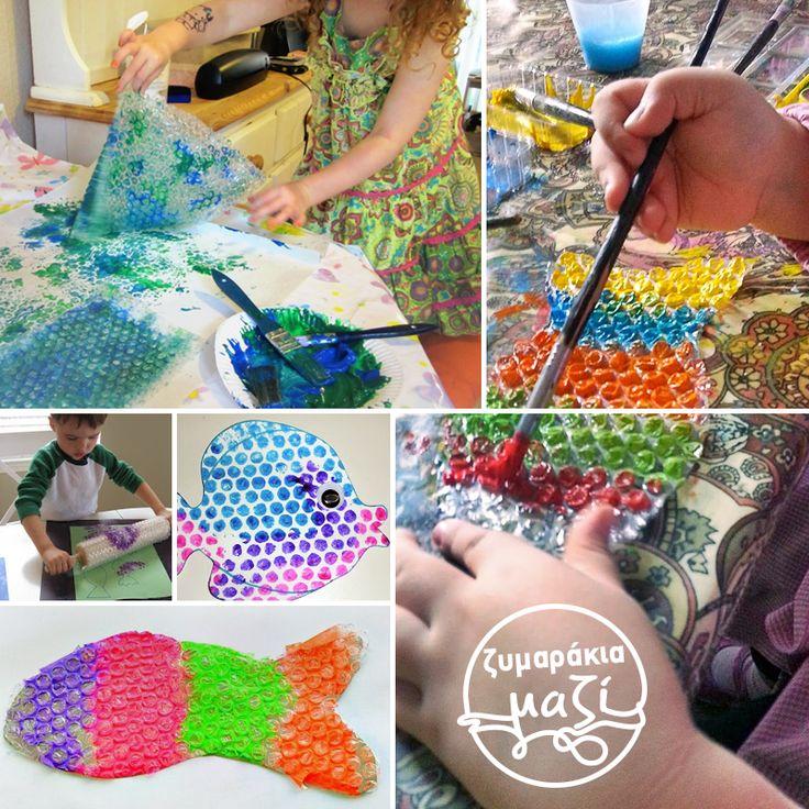 Το ξέρατε ότι μπορείτε να κάνετε κάτι πολύ πιο δημιουργικό με τις προστατευτικές πλαστικές φυσαλίδες αντί να τις σκάτε; Φτιάξτε χρωματιστά καλοκαιρινά ψαράκια μαζί με το μικρό σας! Κόψτε τις φυσαλίδες σε σχήμα ψαριού και βάψτε τις σε έντονα καλοκαιρινά χρώματα. Μη φοβηθείτε τις έντονες αντιθέσεις και τους περίεργους χρωματικούς συνδυασμούς. Για την ακρίβεια… Αφήστε το ζυμαράκι σας, να σας δείξει το δρόμο! #myloiagiougeorgiou #creative #summer #colours #painting #children