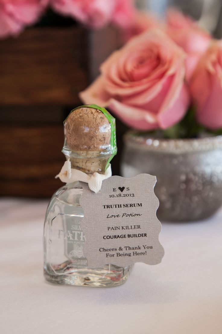 Patron Silver Wedding Favor. Cute tag!!  DIY Gift: Patron or other liquor bottle. Ribbon of choice from a craft store. Write tag on Word doc and print on cardstock- cut to size. Scissors from the $2 bin at Michaels. Hole punch from $ store.