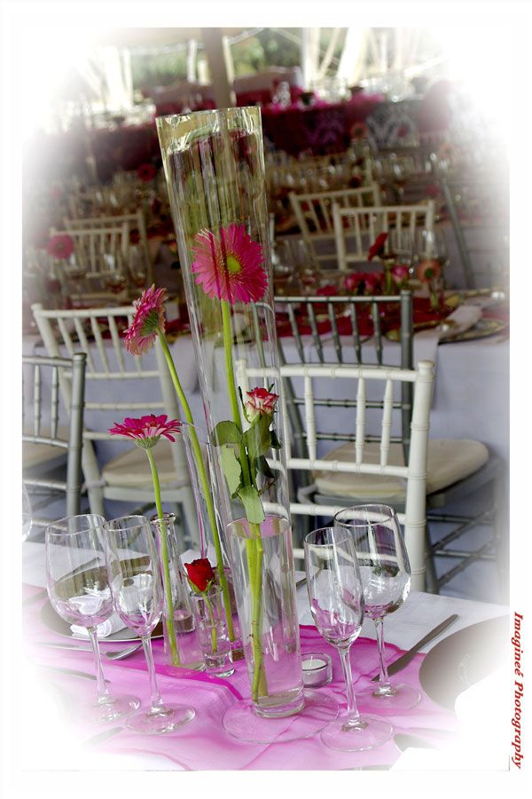 A tall glass vase with a pink gerbera and white and silver Tiffany chairs
