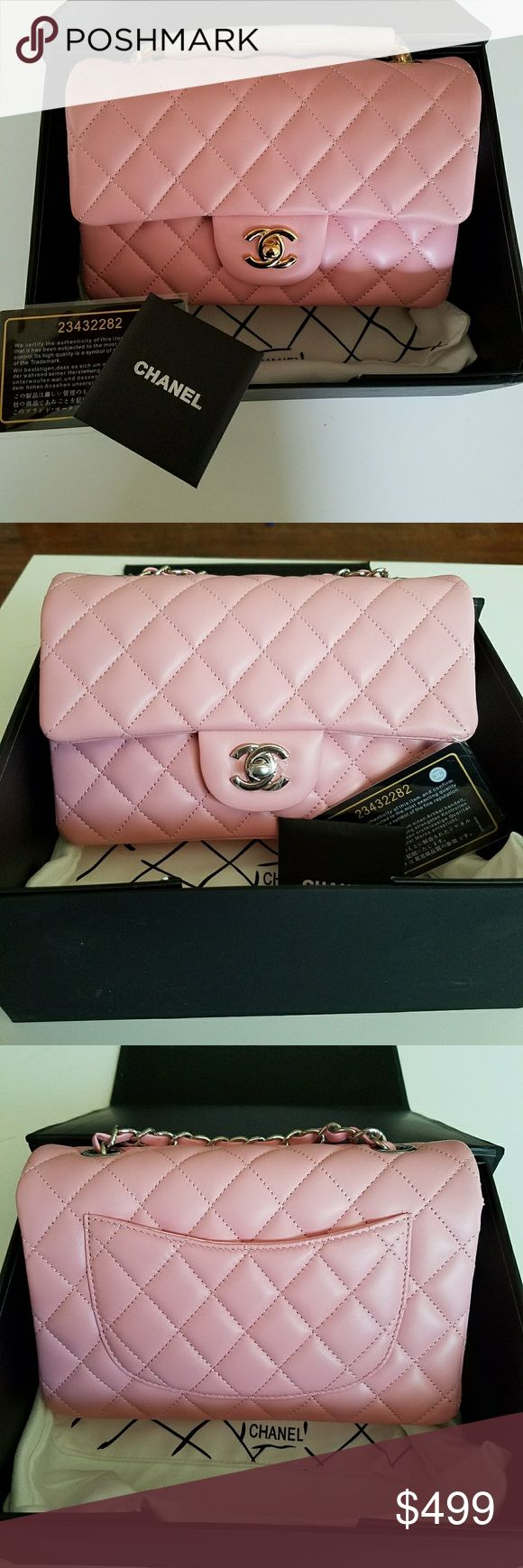 Pink Chanel Mini Flap Bag Buttery soft lambskin. Pink Chanel Mini Flap Crossbody bag. Silver hardware. Comes with Chanel storage box, authenticity card, dust bag, care booklet.  Look great for less! $499 when purchased through here. $450 via PP. Email me a luxystoreluxy@gmail.com if wanting PP price. Price is firm. Was not cheap to purchase. Outstanding quality! CHANEL Bags