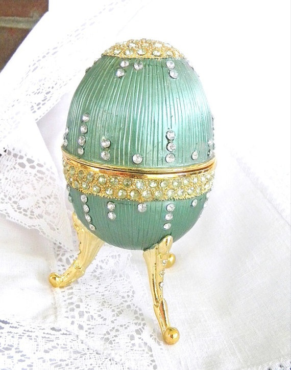 Vintage Music Box Faberge Egg Style Green by VintageAndVictorian, $55.00