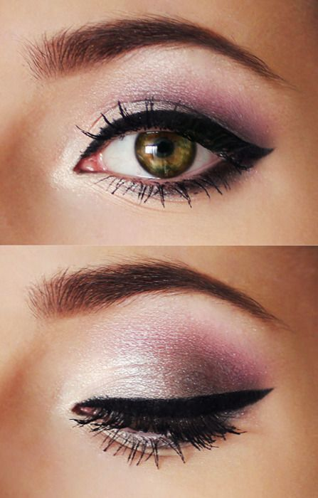 A touch of pink can brighten up green eyes.