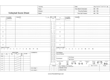 This volleyball score sheet has spaces on which to record players, substitutions, serves, points, sanctions, and more. Free to download and print