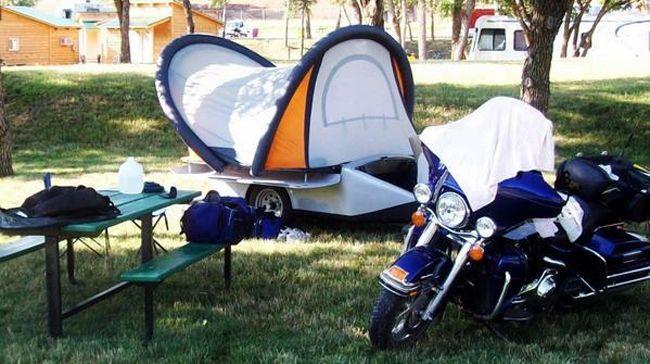 Ultralight Tent Trailer Follows Your Motorcycle or Small Car  Read more: http://dornob.com/ultralight-tent-trailer-follows-your-motorcycle-or-small-car/#ixzz3hxfb2KLT