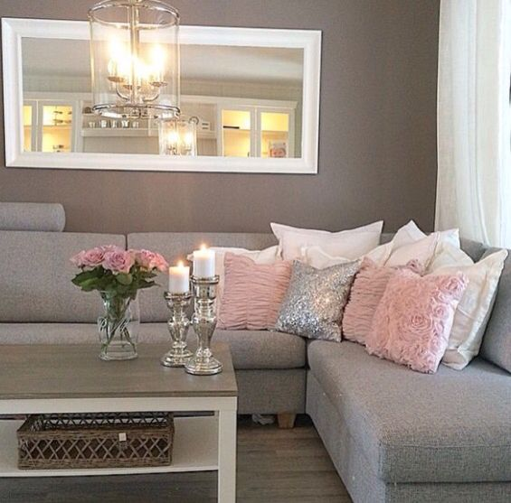 The Grey Couch Looks Amazing With Blush Pink And Silver Pillows White Mirror2016 TrendsLounge IdeasLounge DecorLiving Room