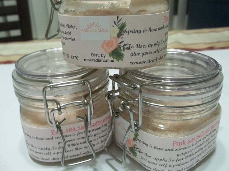 Pink sea Salt Softening foot Scrub by maxradiancelux on Etsy