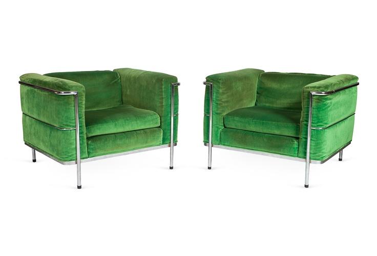 Le Corbusier Velvet Chairs, Pair: Velvet Chairs, Corbusier Velvet, Apples Green, Green Inspiration, Lc3 Armchairs, Colors Green, Chairs Pairings, Green Chairs, Green Velvet