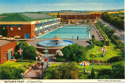 Memories for many: Butlin's at Filey. No longer in existence but the postcard shows how it looked back in the mid 1970s.