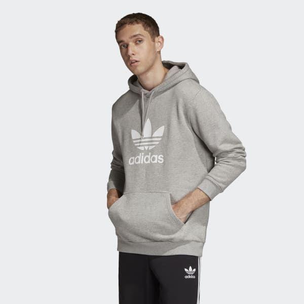 6fbba8ef8b Trefoil Hoodie Heather Grey Mens | mens style | Adidas trefoil ...