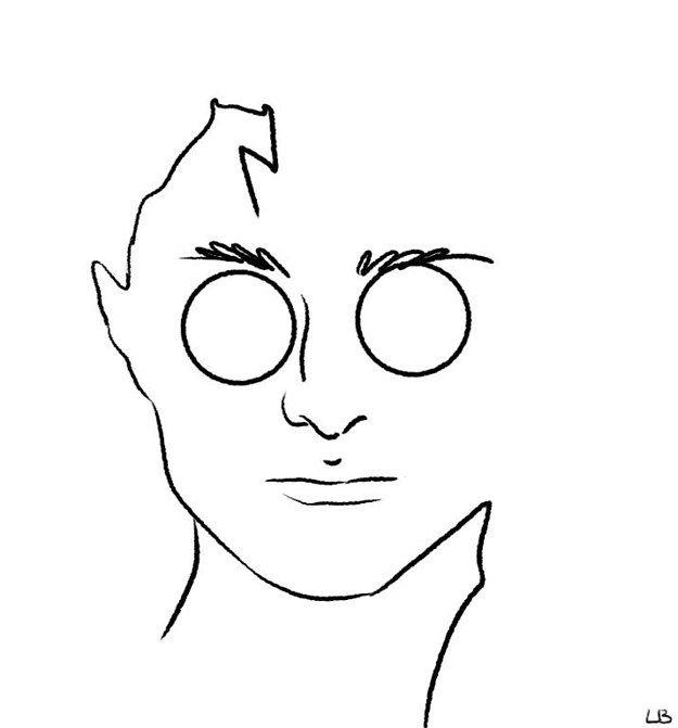 """Harry Potter"" Characters As Minimalist Drawings - Harry -- via Warner Bros. / Loryn Brantz for BuzzFeed"