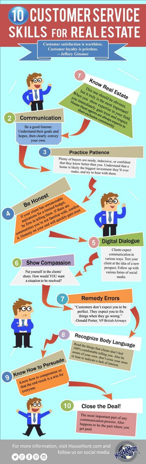 10 Customer Service Skills for Real Estate [Infographic] www.PaulMirador.com (understand and work with home buyer psychology!)