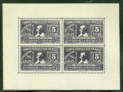 Nicaragua 1937 Issues: Scott #C217/C217a NGAI Columbus Day PERF MINISHEET