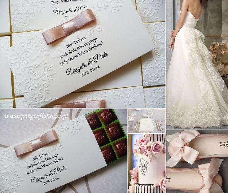 zaproszenia ślubne, etykiety na czekoladę, podziękowania dla gości