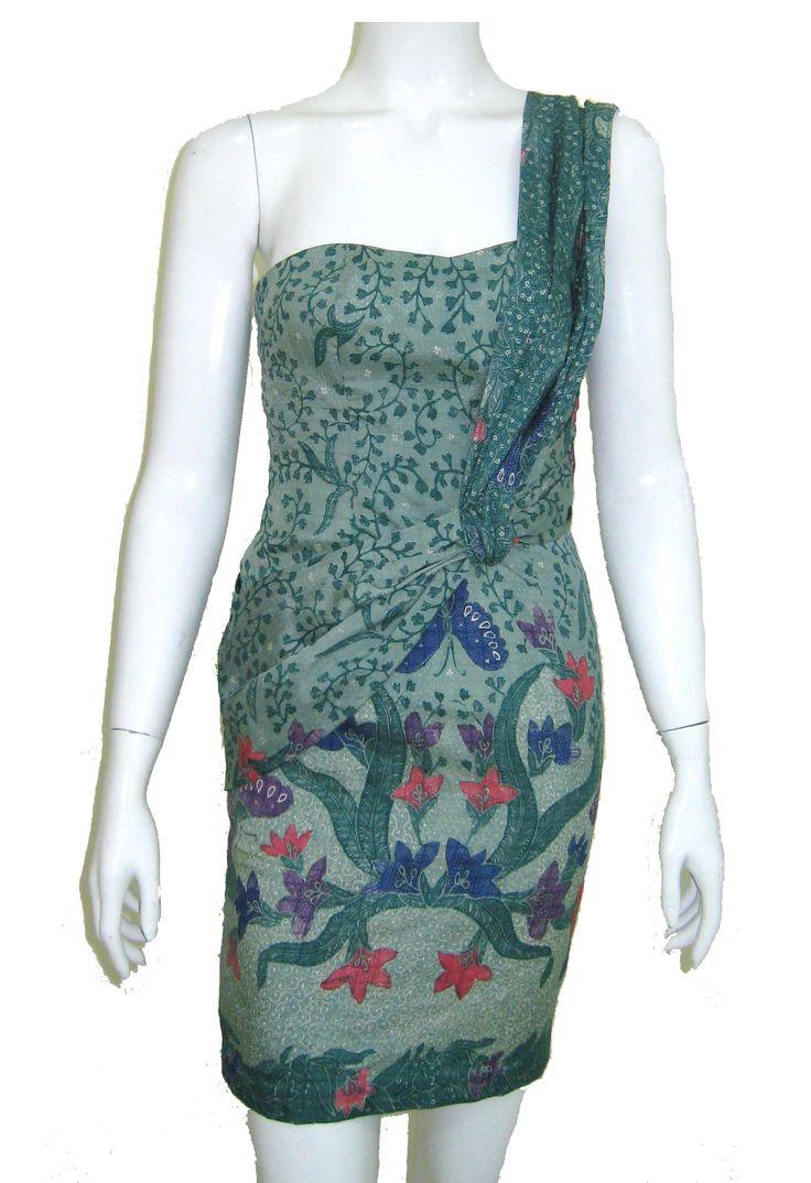 Green Batik Dress (front)