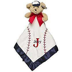 White Personalized Monogrammed Embroidered Baseball Plush Velour Security Blanket~ Make it Special!