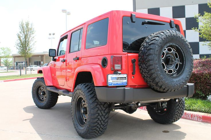 Red Jeep Wrangler With Black Xd Series Wheels And 18 Inch