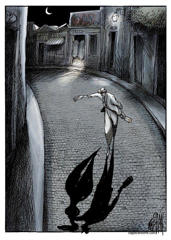 Angel Boligan - El Universal, Mexico City, www.caglecartoons.com - Fantasma / COLOR - Spanish - fantasma, alcohol, amor, sexo, madrugada, so...