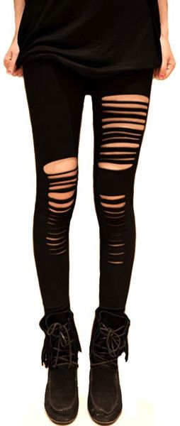 Sexy Punk Stripes Style Leggings :: I have a pair of leggings I could totally do this to.