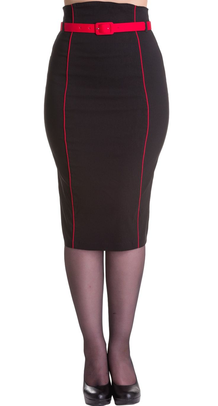 Hell Bunny Kristina Pencil Skirt in Red | Blame Betty