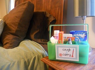 Cough & Carry Caddy ~ Stock it with cough drops, throat lozenges, nasal decongestant, a thermometer, a pack of tissues, pepto, vapor rub, and whatever you need when you're sick... This would make a wonderful Get Well gift or make one for a student heading off to college: Sick Day, Get Well Gifts, Sick Caddy Everything, Nasal Decongestant, Gift Ideas, Darling Doodles, Carry Caddy