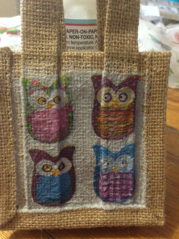 Small hessian gift bags - Owls