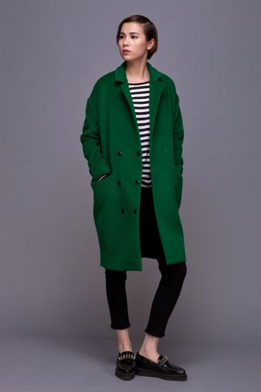 Front Row Shop Vintage Cocoon coat grass pure women fashion green coat