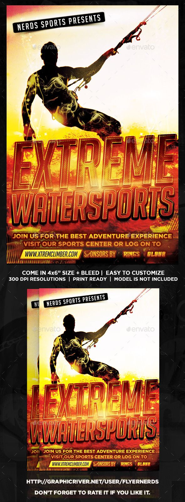 Extreme Watersports Flyer by flyernerds Extreme Watersports Flyer Description :46 with bleedPrint Ready ( CMYK, 300DPI ) Easy to edit and fully customizable Model Image d